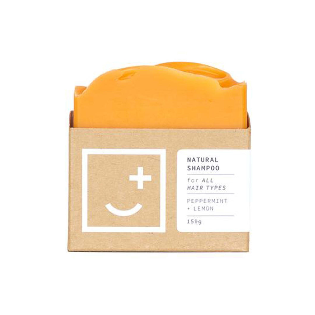 Peppermint and Lemon Natural Shampoo bar in minimal cardboard packaging.