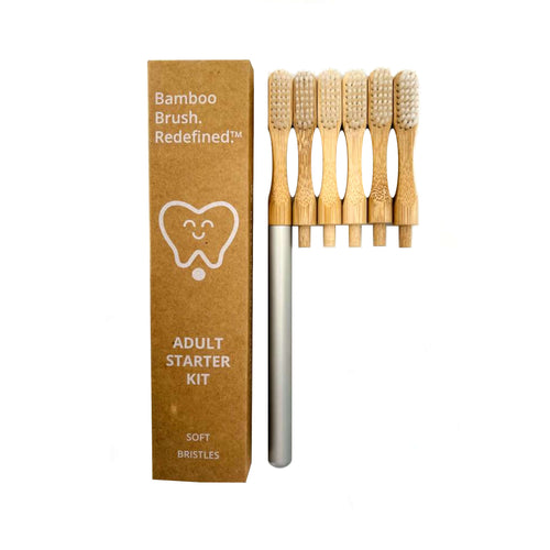Foreverhandle aluminium toothbrush handle with 6 replacement heads.