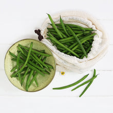 Single produce bag with green beans.