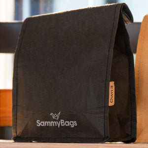 SammyBags reusable and washable black paper bag, ideal for 250g or 500g coffee beans.