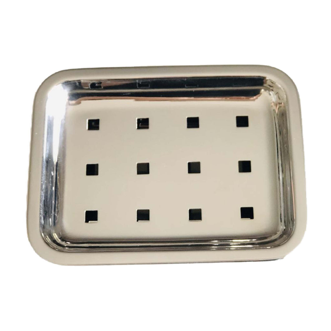 Stainless steel soap tray or dish.