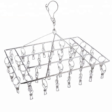 Rectangular stainless steel sock / laundry hanger.