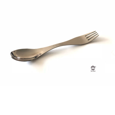 Photograph of a stainless steel spork untensil, fork on one end and spoon on the other.