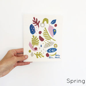 Dish cloth with floral spring design.