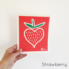 Dish cloth with strawberry design.
