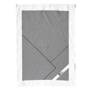 Tea towel in black and white striped design.