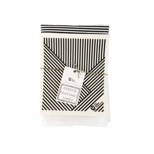 Tea towel and dish cloth set in black and white striped design.