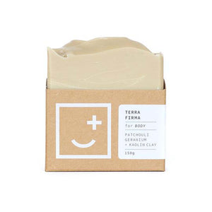 Terra Firma - soap and body wash bar in minimal cardboard packaging, made in New Zealand.
