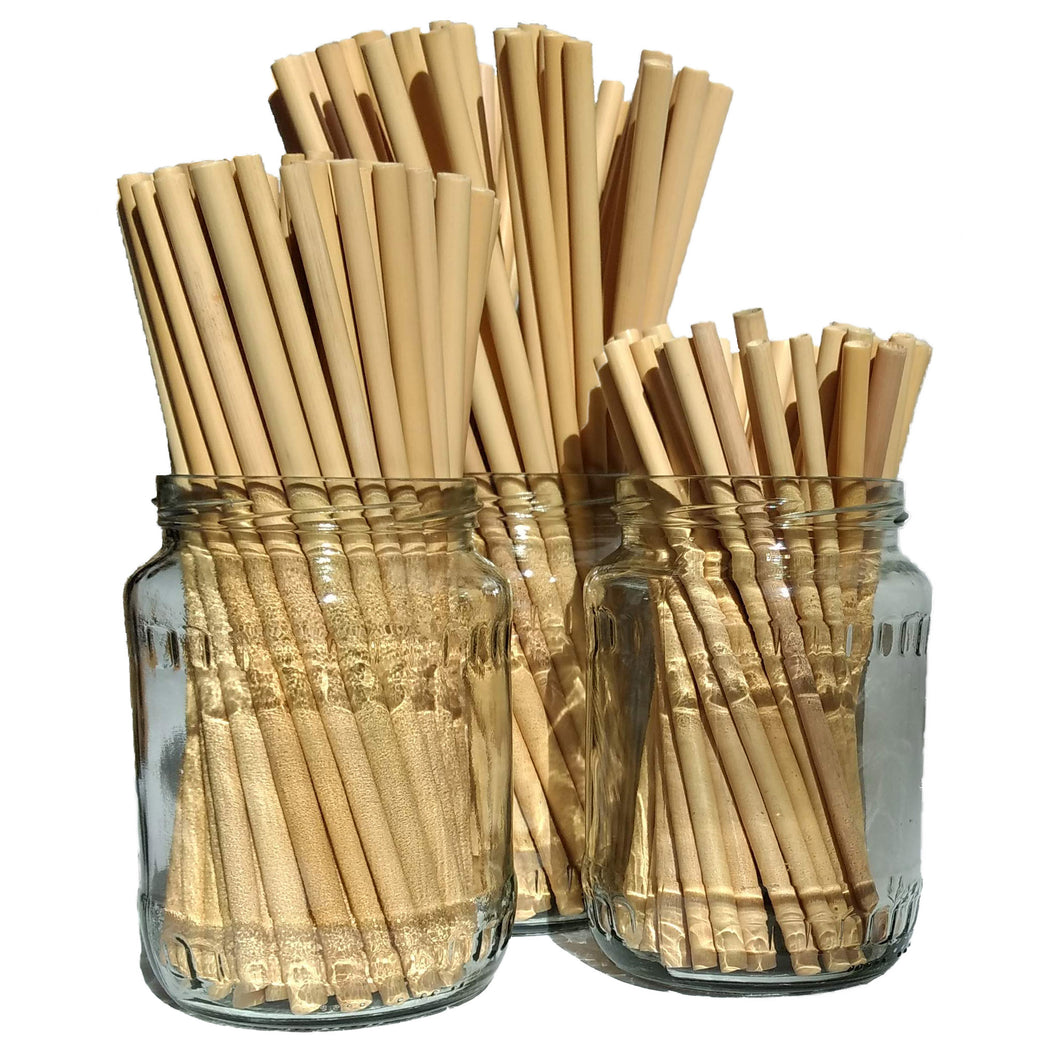 Three different sizes of organic, reusable bamboo straws in three glass storage jars.