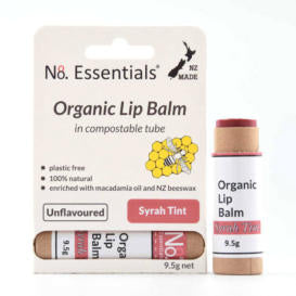 Organic tinted lip balm in compostable cardboard tube.
