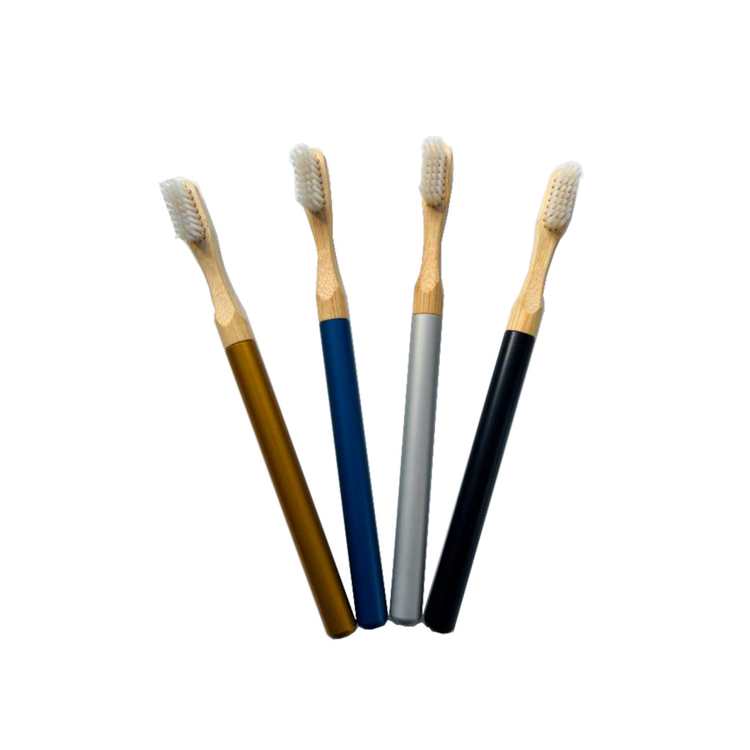 Foreverhandle aluminium and bamboo toothbrush handle with replacement head in 4 different colours.