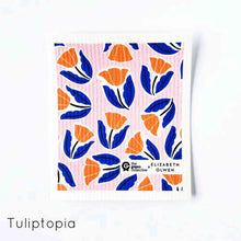 Compostable dish cloth with tulip design.