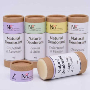 Natural Vegan deodorant in compostable cardboard tube.