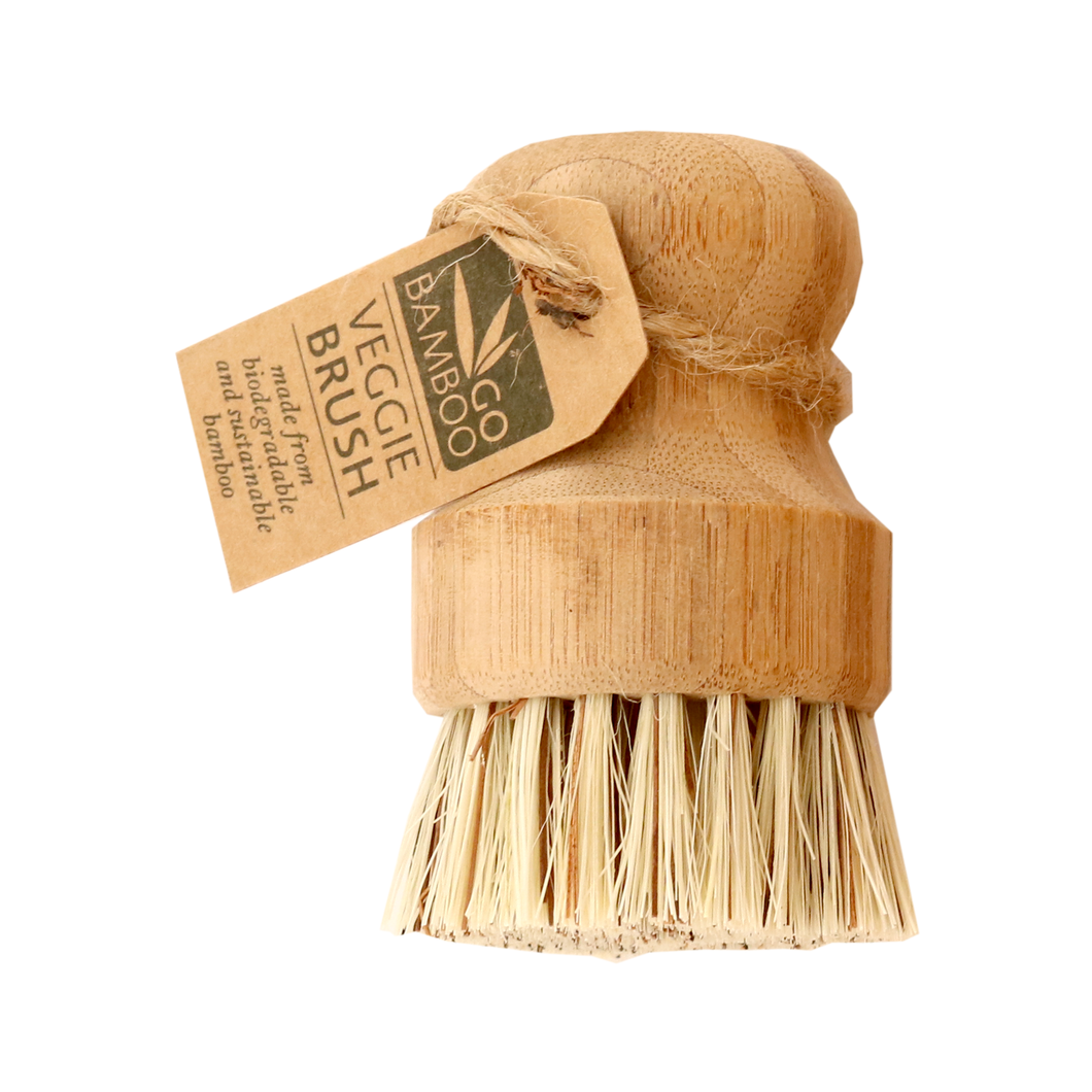 Natural, sustainable, organic Go Bamboo veggie scrubber with cardboard tag.