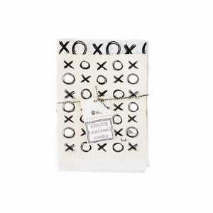 Tea towel and dish cloth set in XO monochrome design.