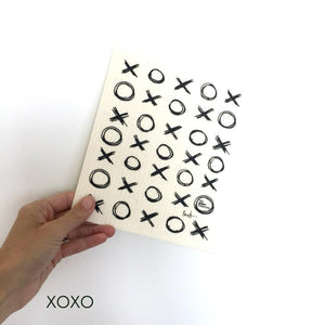 Dish cloth with X's and O's design.