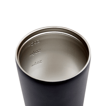 Internal view of stainless steel coffee cup with measurements at 4, 6 and 8 ounces.