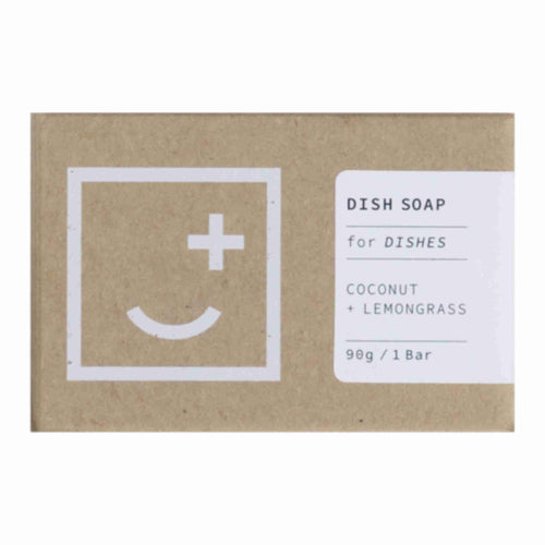 Coconut and lemongrass dish soap for use with a soap shaker in a stylish cardboard box.