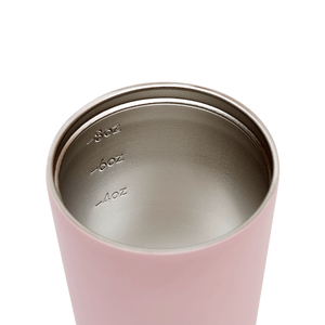 Internal view of pink / floss stainless steel coffee cup with measurements at 4, 6 and 8 ounces.