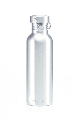 Photograph of stainless steel water bottle.