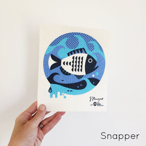 Dish cloth with blue snapper design.