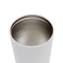 Internal view of white / snow stainless steel coffee cup with measurements at 4, 6 and 8 ounces.