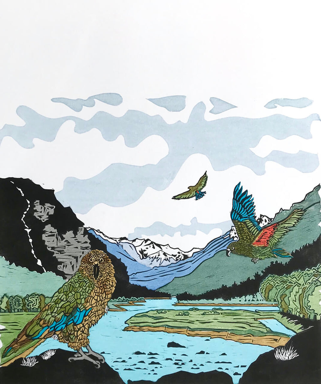 Art by Vivien Davimes - Kea at Mt. Aspiring National Park  1/12