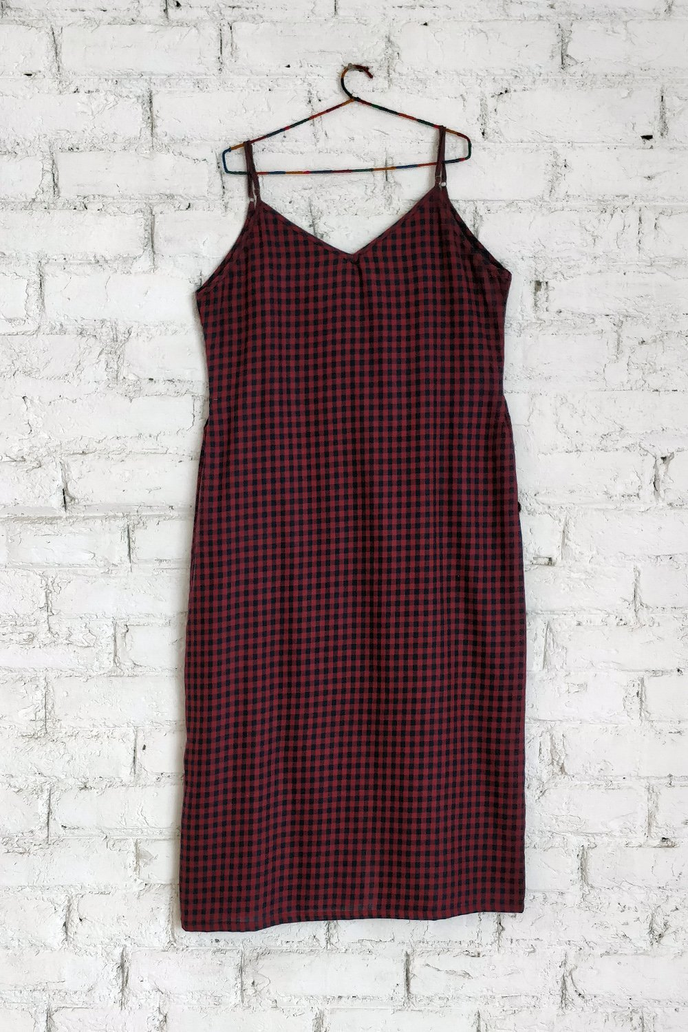 ease - check slip dress