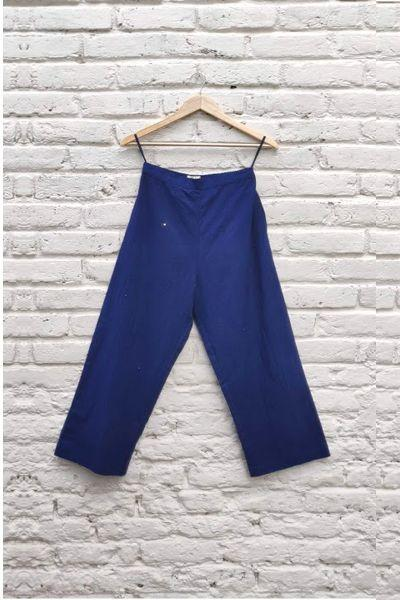 Sola emb Straight Fit Pants - Morrocon Blue