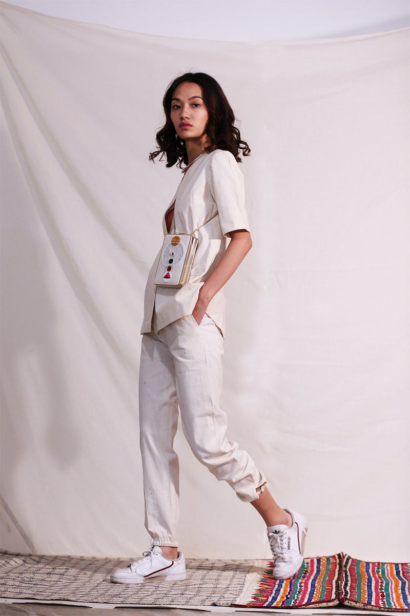 Jogger Pants with Sola Mirror Embroidery