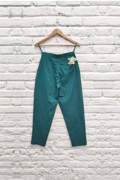 Sola emb navy tapered pants- Moss Green