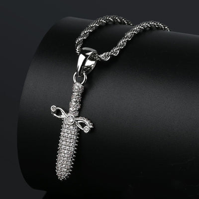 Iced Out Dagger Pendant With Chain