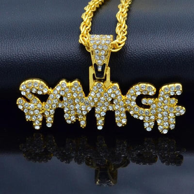 """SAVAGE"" Pendant With Chain"