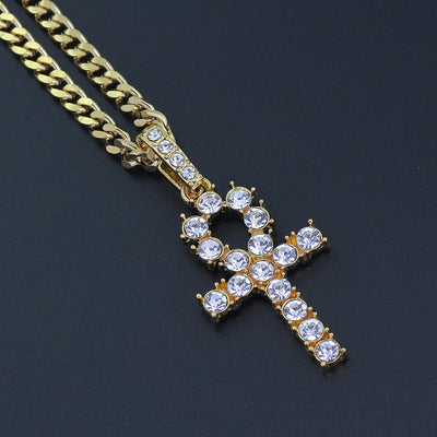 Iced Out Cross Pendant With Chain