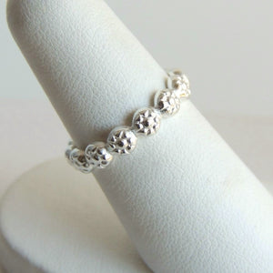 Sterling Silver Daisy Band Stackable Ring