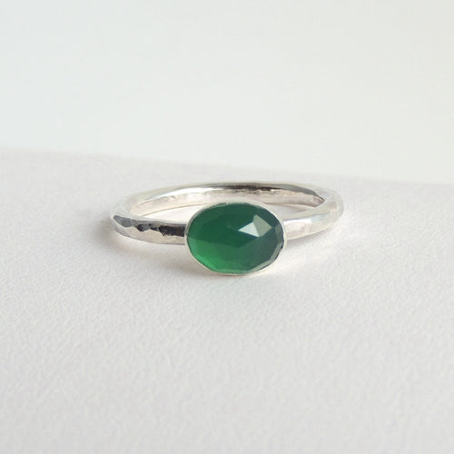 Oval Green Onyx Ring Sterling Silver Rose Cut Faceted Gemstone Solitaire