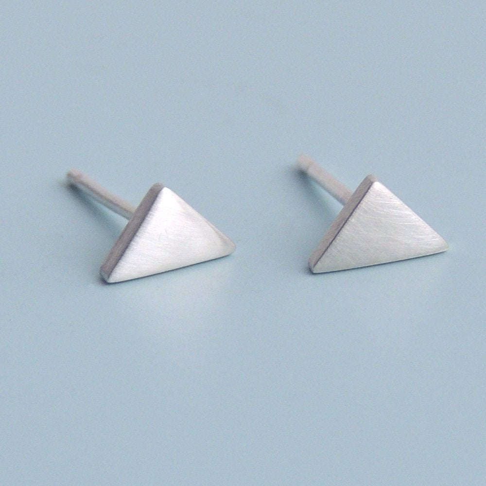 Triangle Stud Earrings Sterling Silver Small Post Earrings Silver Studs