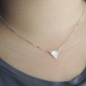 Hammered Triangle Necklace Sterling Silver Simple Geometric Jewelry