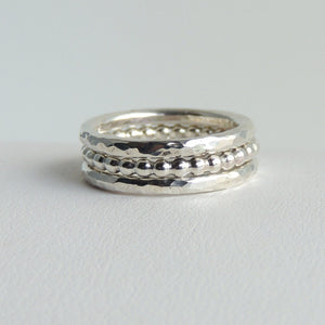 Stacking Bands Sterling Silver Stackable Rings Hammered Beaded Set of Three Simple Bands