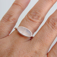 Oval Rose Quartz Ring Sterling Silver Bezel Set Gemstone Jewellery