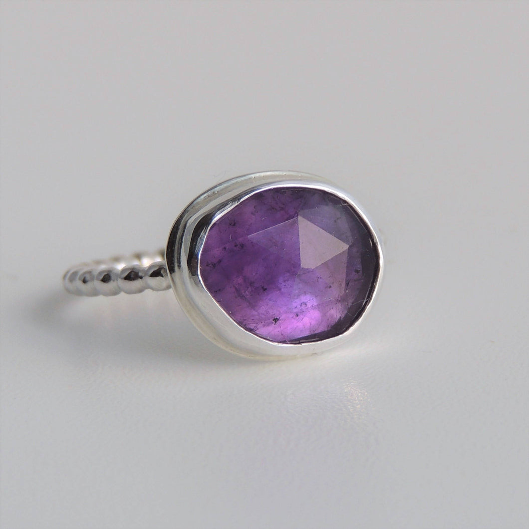 Amethyst Ring Sterling Silver Freeform Rose Cut Purple Stone Size 7.5