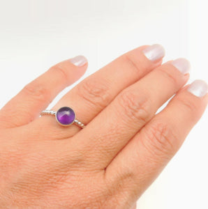 Amethyst Ring Sterling Silver Solitaire 8mm Purple Gemstone February Birthstone