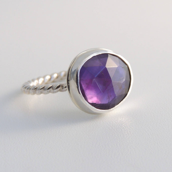 Amethyst Ring Sterling Silver Freeform Rose Cut Purple Stone Size 6.5