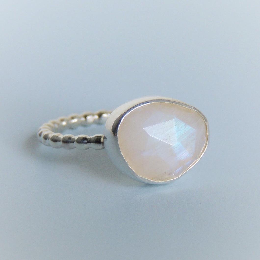 Rainbow Moonstone Ring Rose Cut Freeform Gemstone Size 6