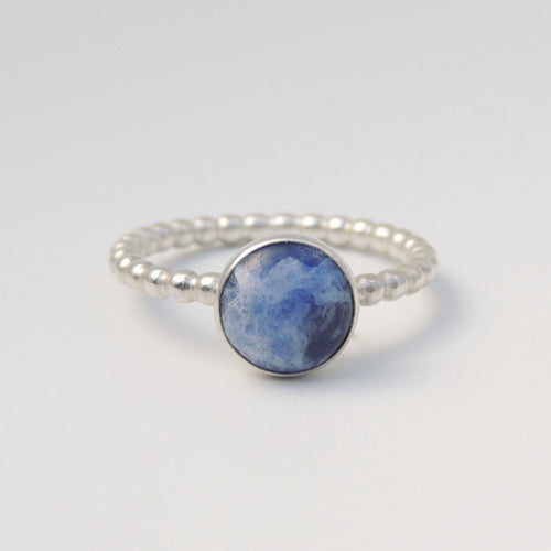 Sodalite Ring Sterling Silver Blue Stone Solitaire size 6 3/4