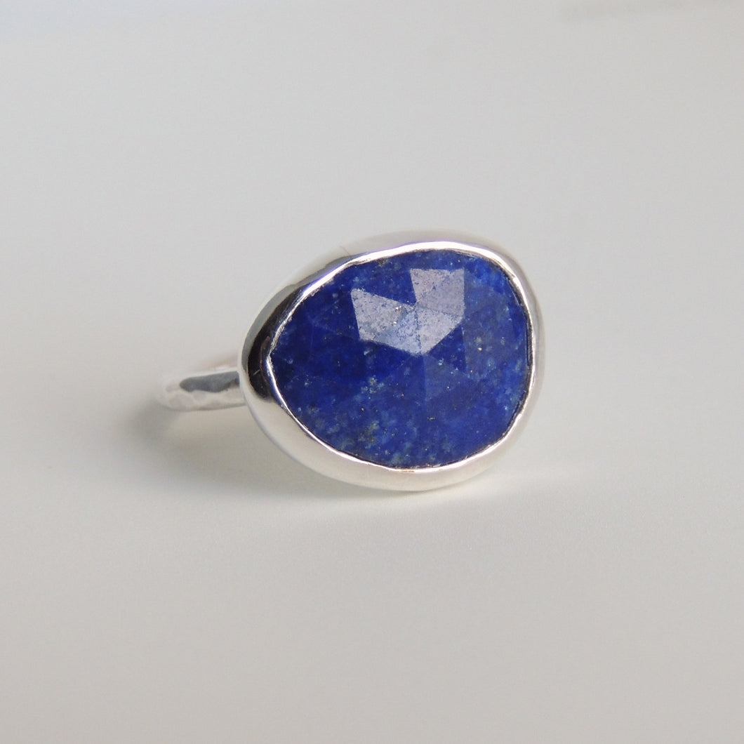 Lapis Lazuli Ring Sterling Silver Rose Cut Blue Stone Statement Ring Size 6