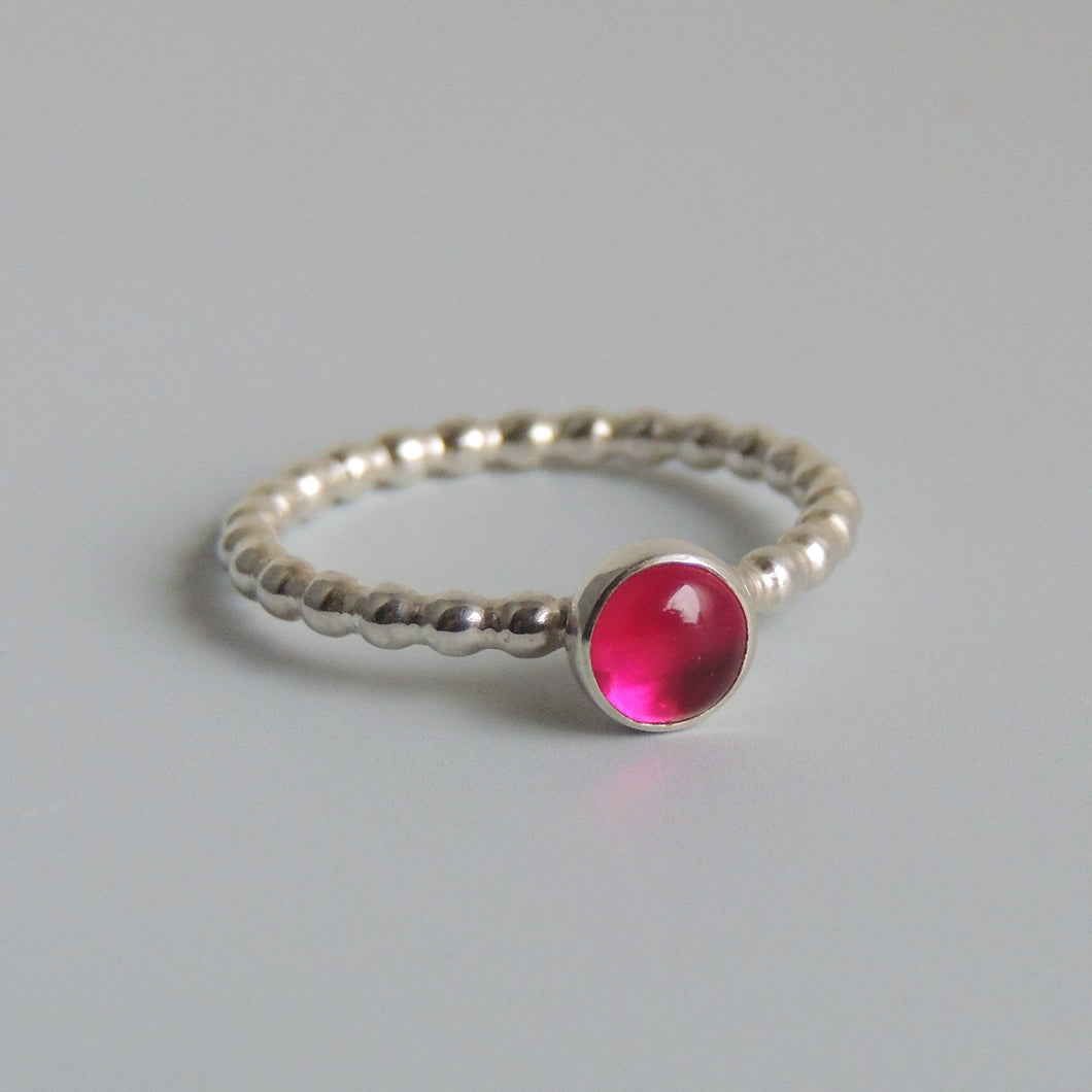 Lab Created Ruby Ring Sterling Silver Pink Gemstone Solitaire July Birthstone Ring