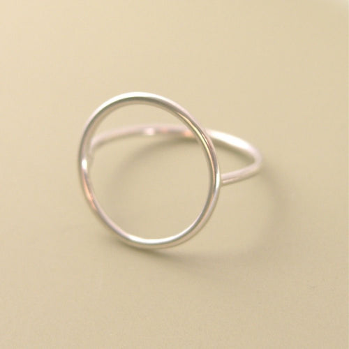 Open Circle Ring Sterling Silver Simple Geometric Ring