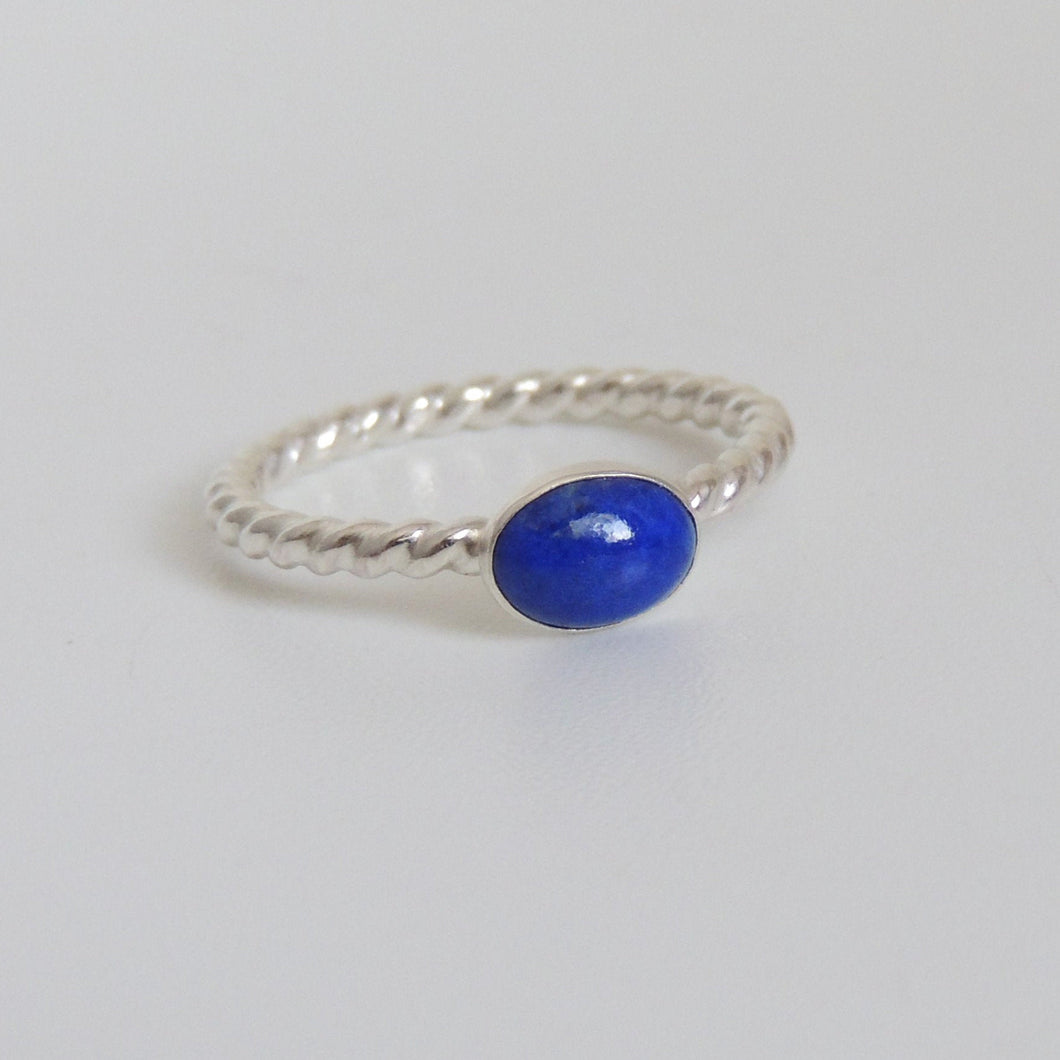 Oval Lapis Ring Sterling Silver Blue Gemstone Solitaire