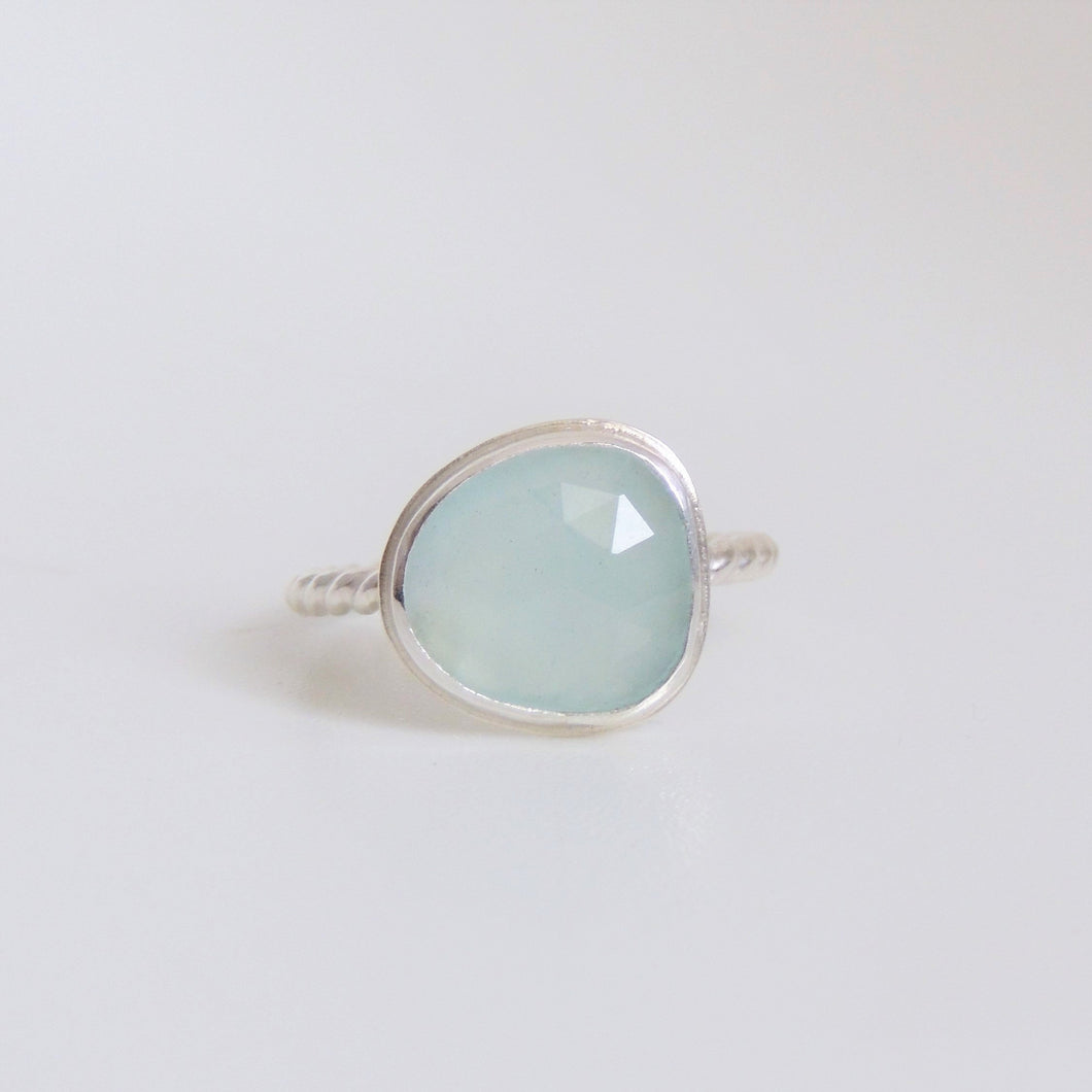 Aquamarine Ring Sterling Silver Rose Cut Gemstone Jewellery Size 7
